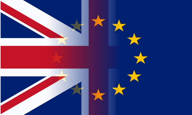 british and EU flag merged
