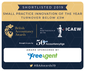 badge for being shortlisted British Accountancy Awards 2019