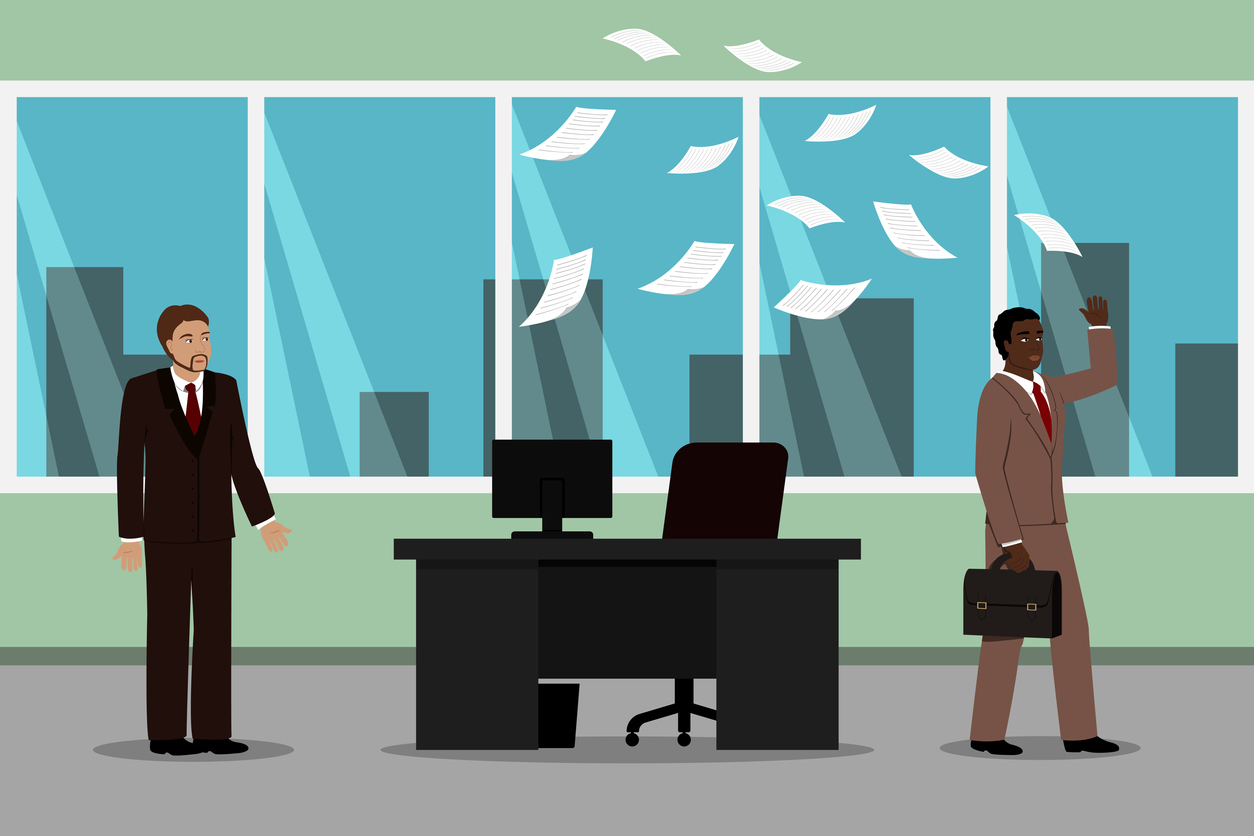 Controversy between boss and his subordinate. Vector illustration.